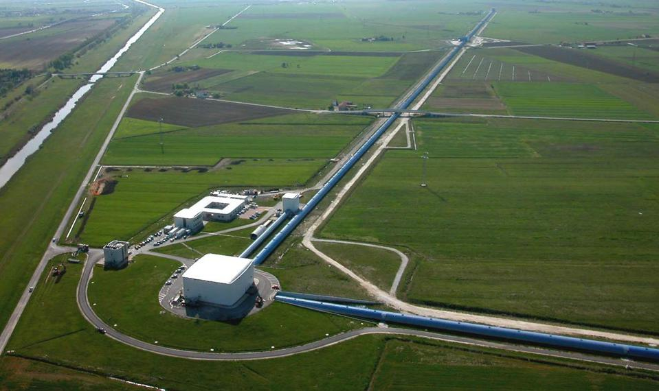 Aerial view of the Virgo gravitational-wave detector, situated at Cascina, near Pisa.