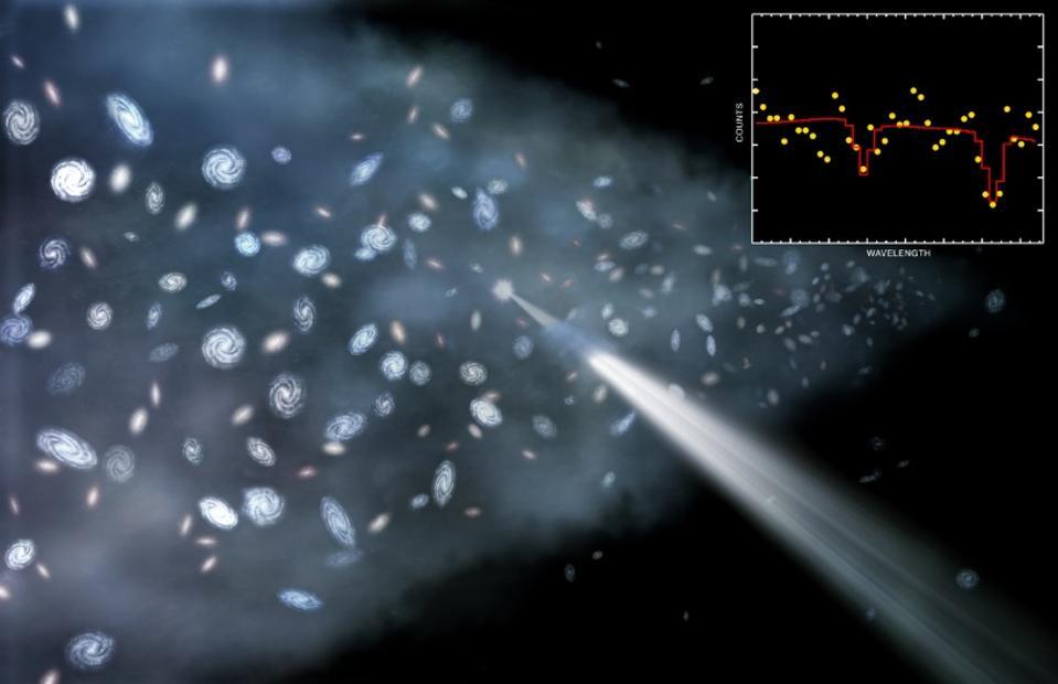 Map of the warm-hot intergalactic medium along overdense walls and filaments.