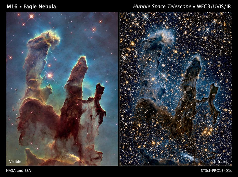 Visible light (L) and infrared (R) wavelength views of the Pillars of Creation.