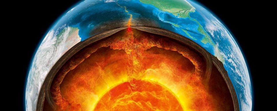 A depiction of Earth's interior, showing the movement of molten rock, which makes up the mantle.