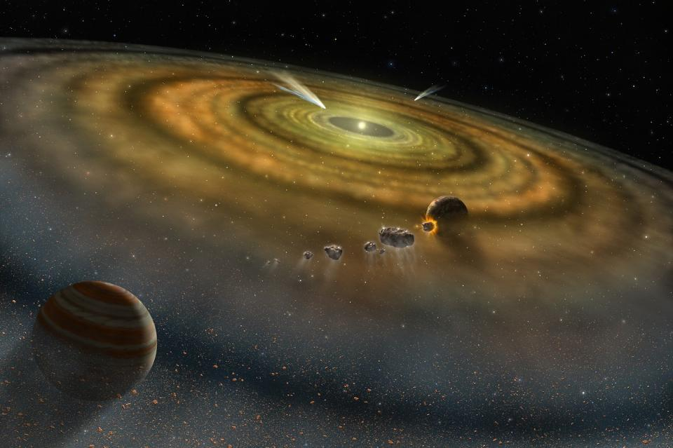 An illustration of the young solar system Beta Pictoris, analogous to our Solar System.