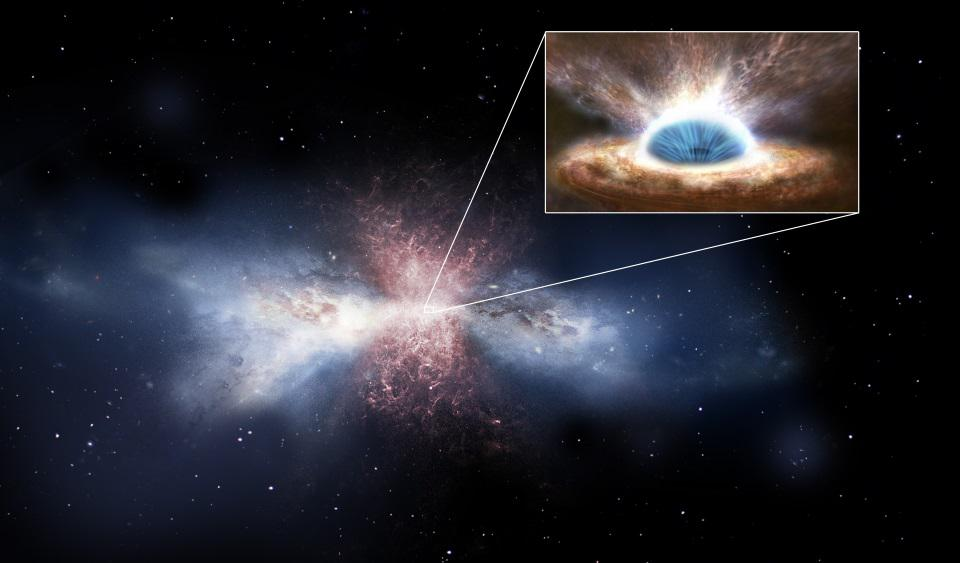 A galaxy being cleared of interstellar gas by its central black hole's activity.