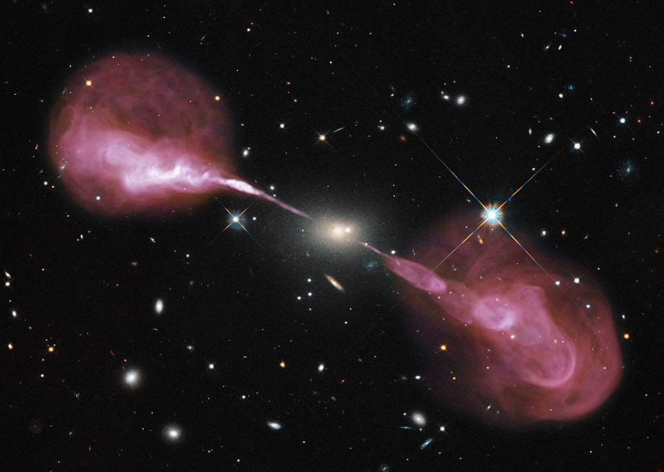 The galaxy Hercules A as viewed in a composite of optical and radio light, with jets shown