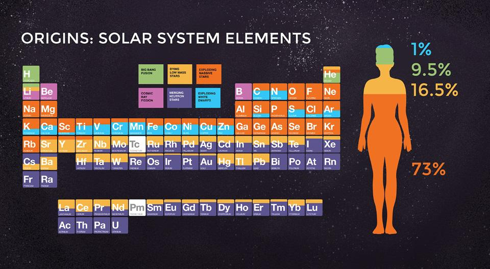The astrophysical origin of the elements found in our Solar System and in human bodies.