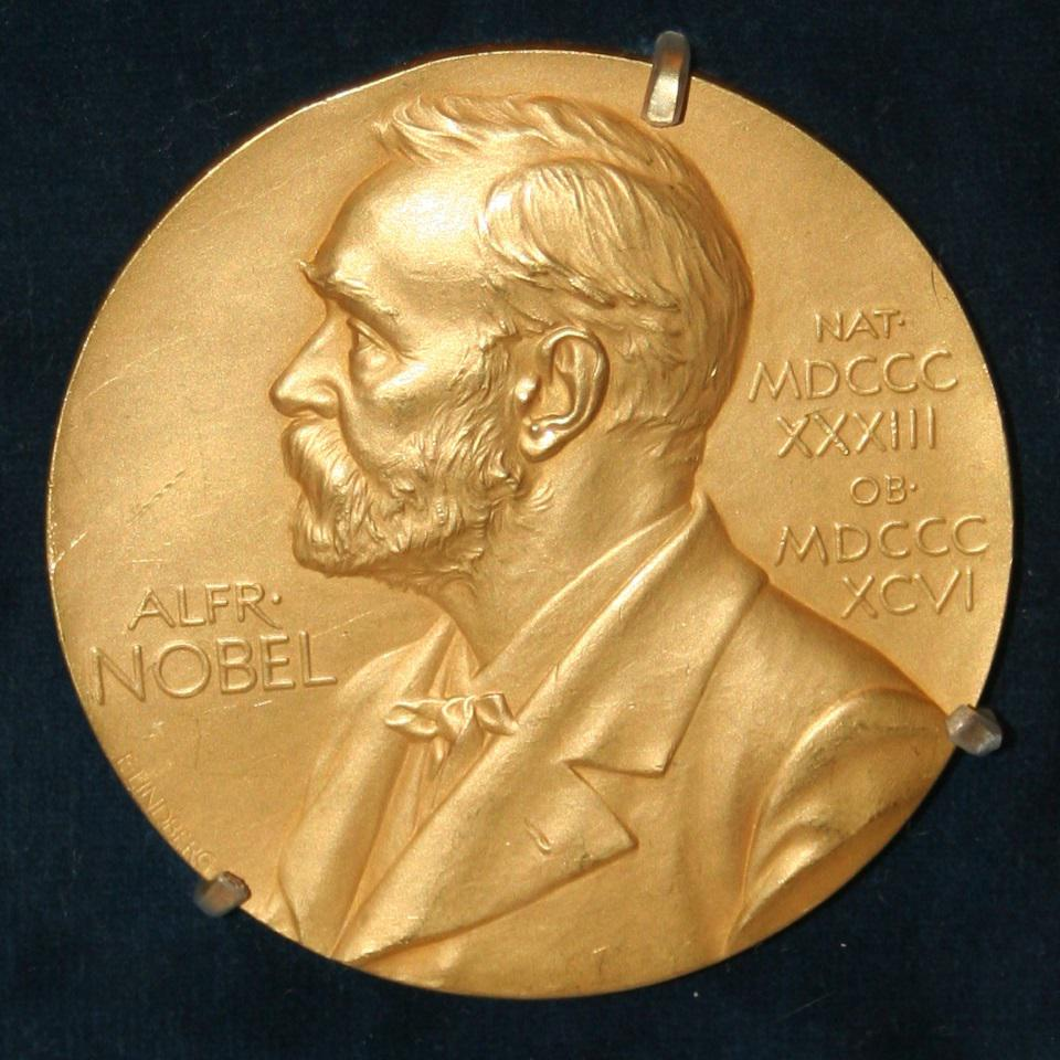 Front side (obverse) of one of the Nobel Prize medals.