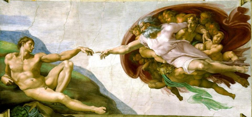 The famous depiction of the 'creation of man,' from the ceiling of the Sistine Chapel.