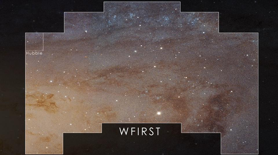 Field of view of Nancy Grace Roman (WFIRST) telescope versus that of Hubble.
