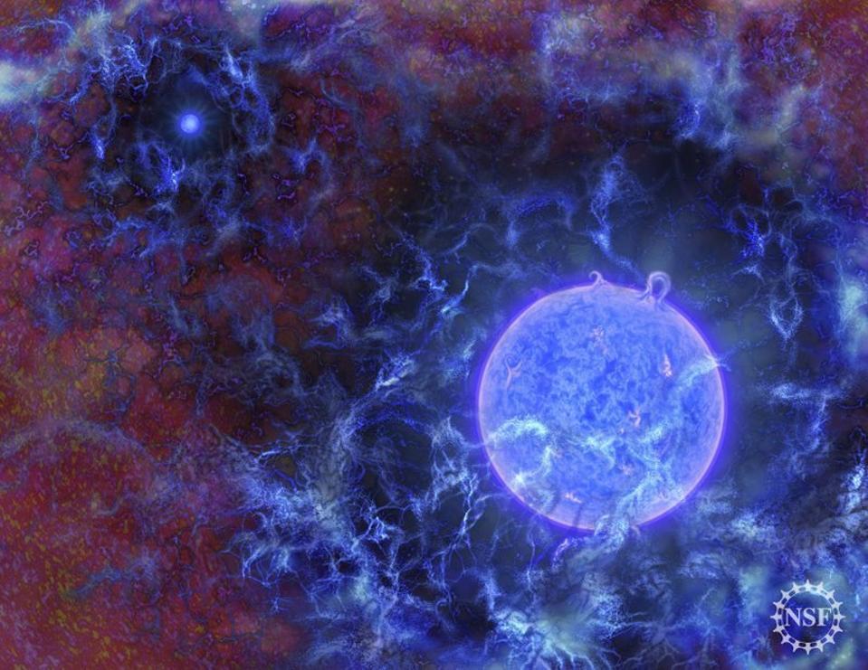 Las primeras estrellas del universo a menudo están rodeadas por átomos neutros de gas hidrógeno.