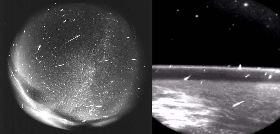 A view of many meteors striking Earth over a long period of time.