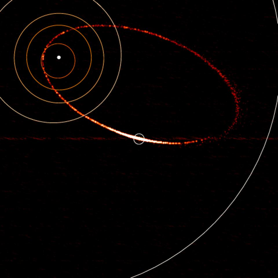 Debris stream of a comet or asteroid, which creates meteor showers on Earth.