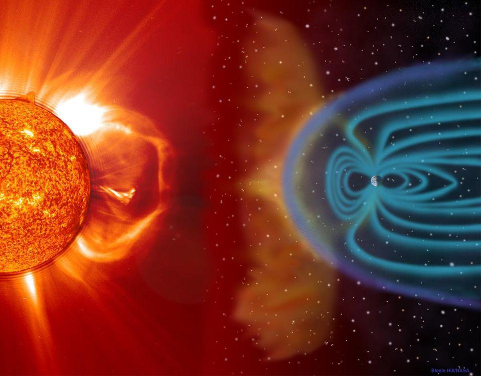 The Earth's magnetic field typically shields us from the Sun's charged particles