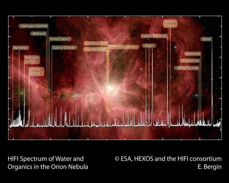 Signatures of organic, life-giving molecules are found all over, like in the Orion nebula.