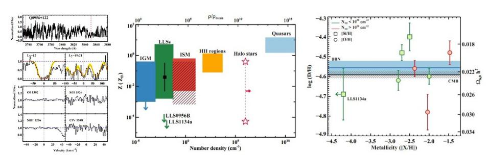 Absorption features in gas clouds and the primordial deuterium abundance.