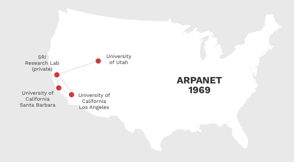 Map of first 4 nodes of Arpanet to go online in 1969