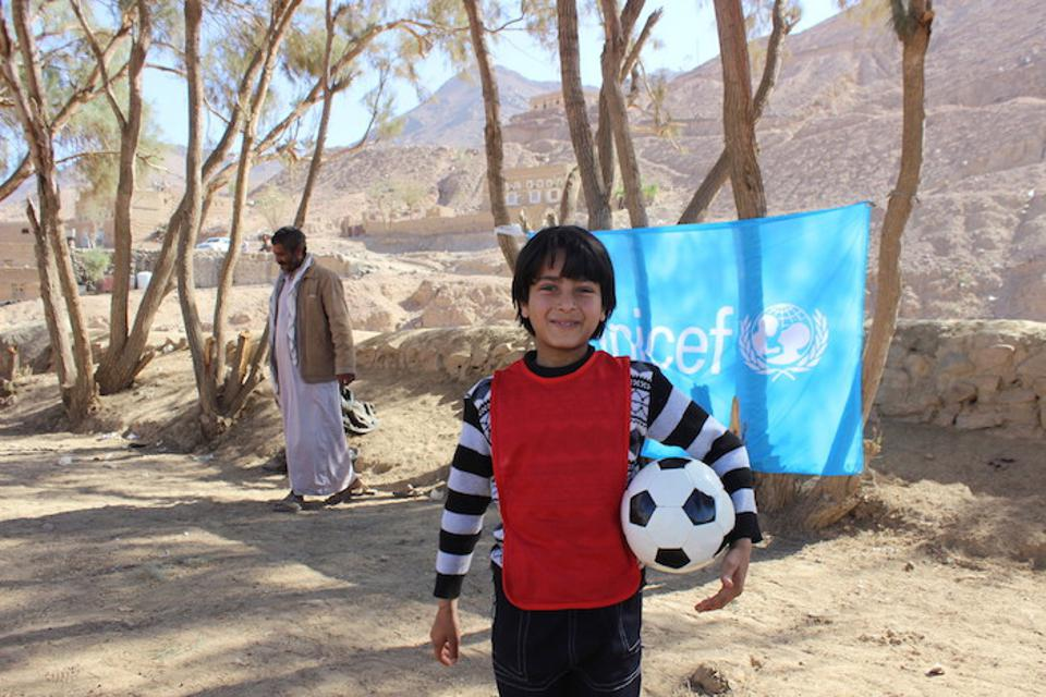 In 2016, at a UNICEF Child-Friendly Space in war-torn Sa'ada, Yemen.