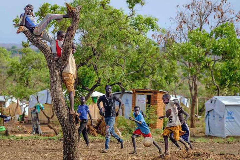 Beneath a tree at the Bidi Bidi settlement for South Sudanese refugees in Uganda in 2017.