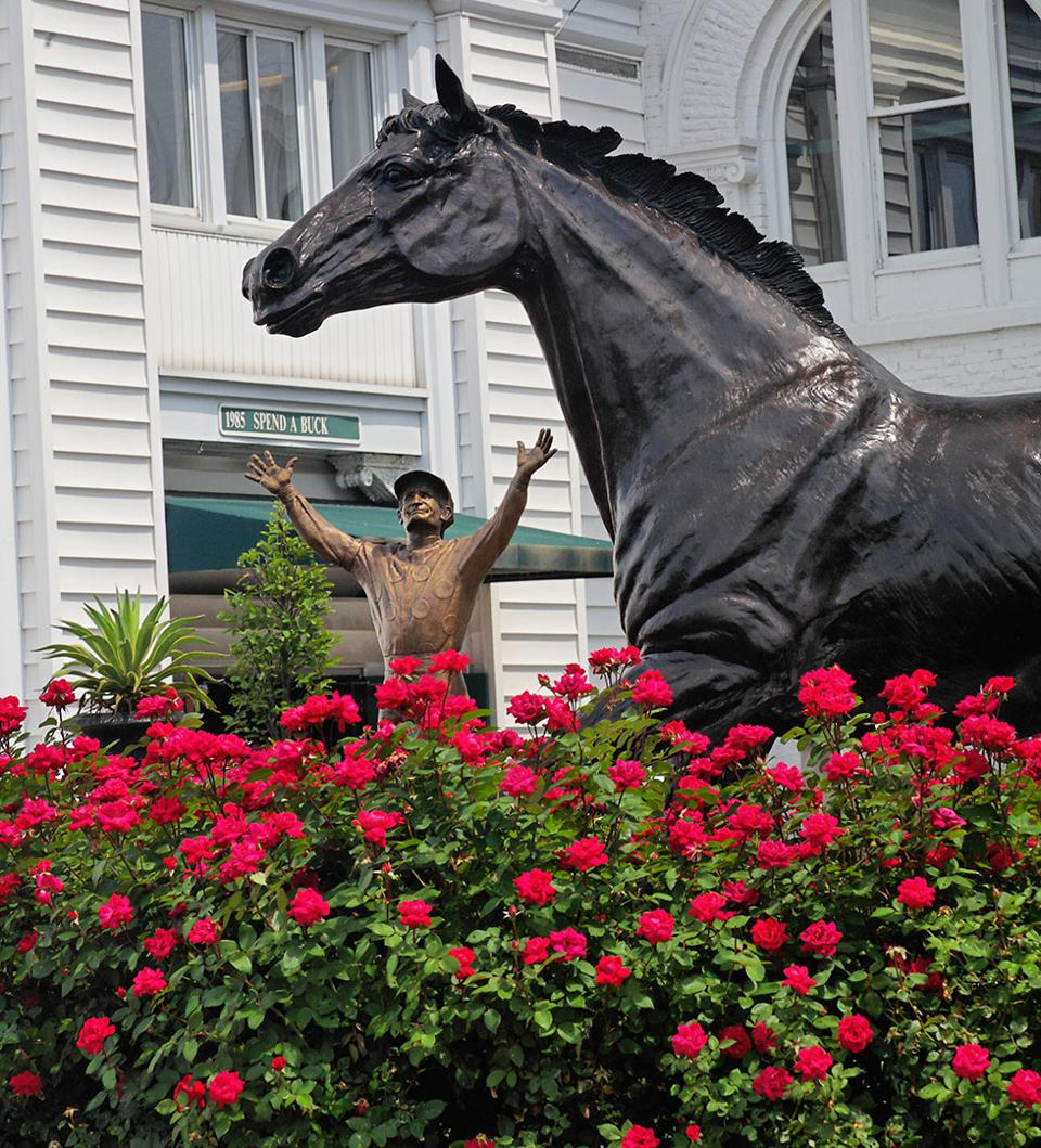 The statue of the Kentucky Derby's first winner, Aristides.