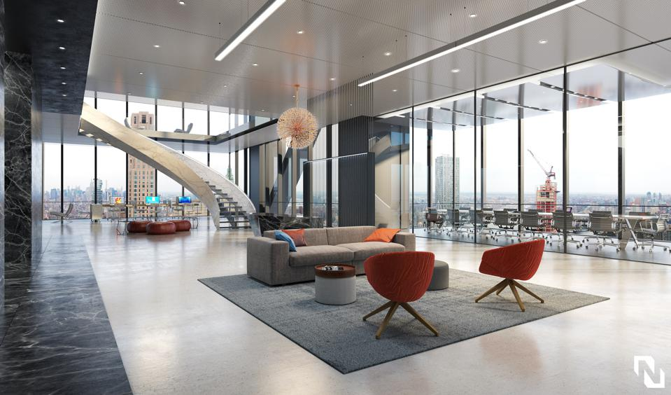 A rendering of a potential office design in 3WTC.
