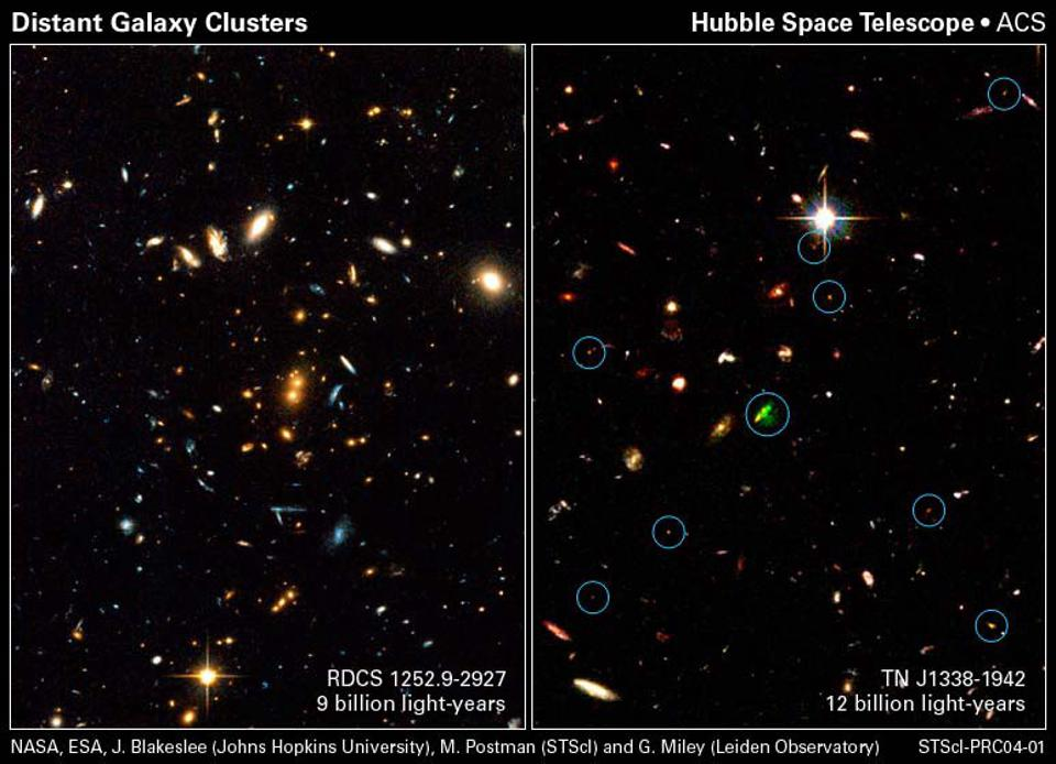 Hubble's advanced camera for surveys identified a number of ultra-distant galaxy clusters.