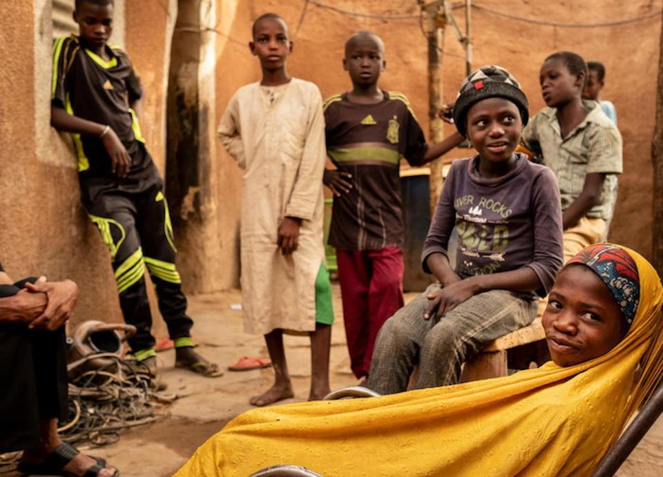 In May 2018, unaccompanied children caught begging in Algeria wait in Zinder, Niger to be sent home to their families.
