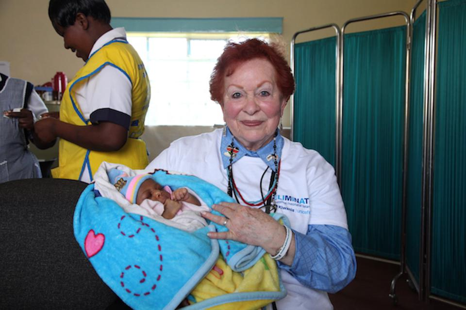 In 2014, Charlet Long Little, a member of the San Antonio Army Residence Golden K Kiwanis club, visited the Angata Barrikoi Health Center in Kenya to see how UNICEF's immunization efforts save the lives of mothers and babies.