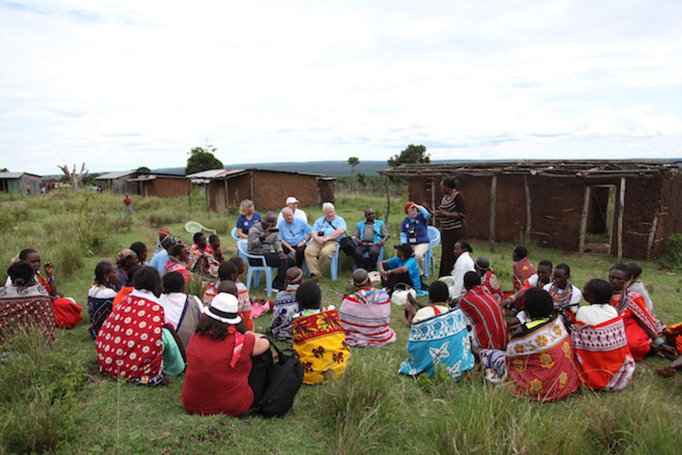 Kiwanis International delegates meet with Maasai community leaders and health workers in Pusanki, Kenya to learn more about how they are promoting key tetanus toxoid (TT) messages and organizing community-wide mobile outreach services.