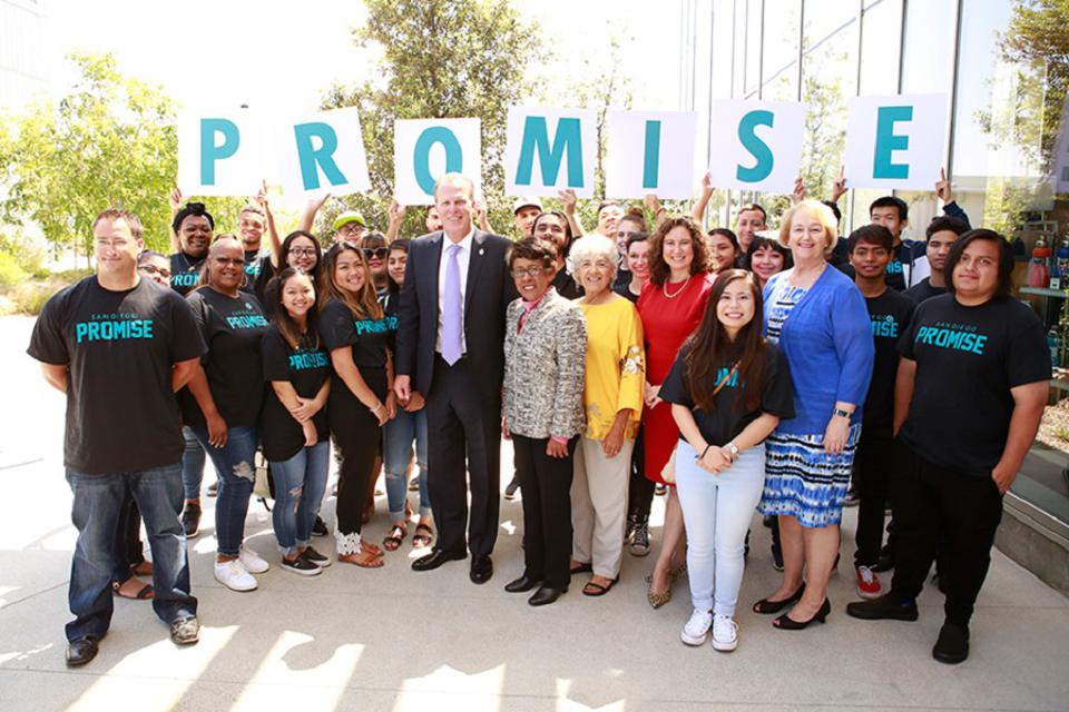 Dr. Carroll (center) joins San Diego Promise students.