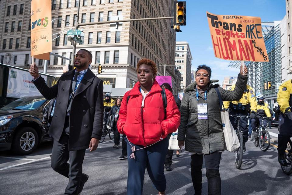 Participants at the 2018 NASPA Annual Conference in Philadelphia, PA, marching in the Rally for Students' Rights organized by NASPAacts through NASPA's Equity, Inclusion and Social Justice Division.