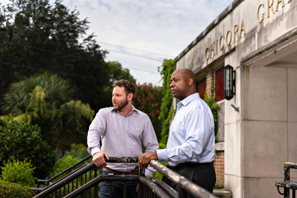 Billionaire Sean Parker and Senator Tim Scott in North Charleston, South Carolina.