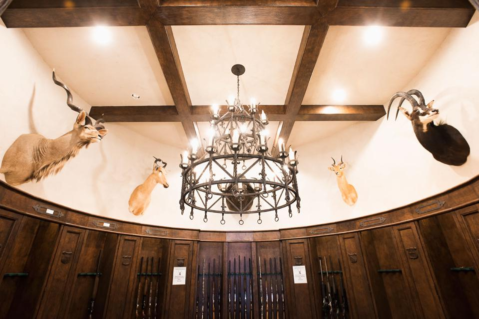 The trophy room at the Greystone Castle Sporting Club, a hunting lodge in Mingus, Texas, co-owned by John Goff.