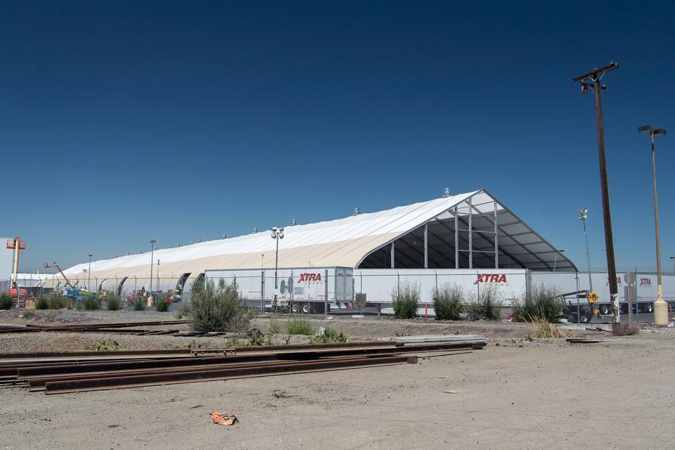Tesla's temporary assembly line in Fremont, California.