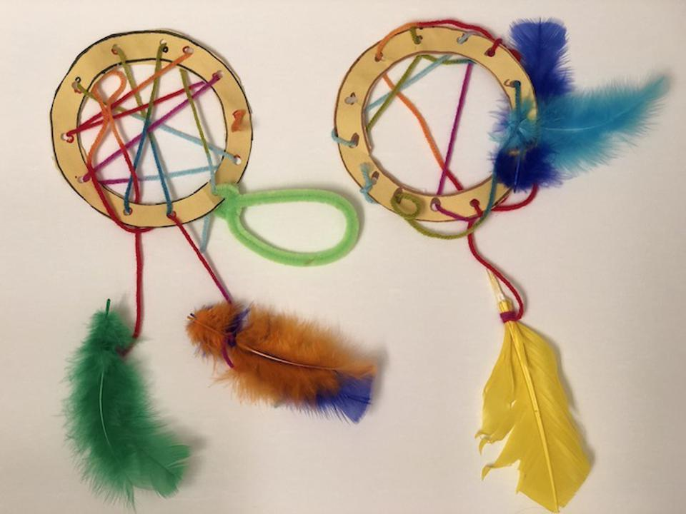 Unaccompanied child migrants from Central America make dream catchers and write down their hopes and dreams: