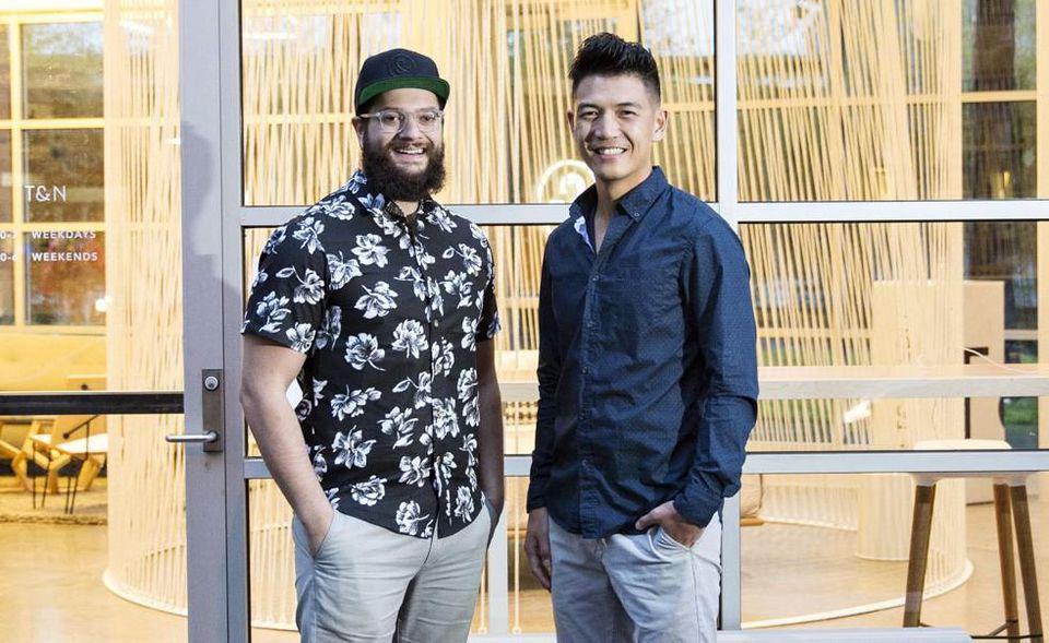Tuft & Needle cofounders JT Marino (left) and Daehee Park at the company's first store in San Francisco's design district.