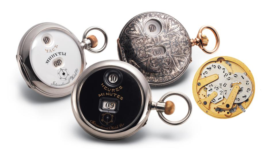 Back in Time: IWC pocket watches from the 19th century with the Pallweber system for displaying hours and minutes on rotating discs. Right: the Pallweber II mechanism from 1884.
