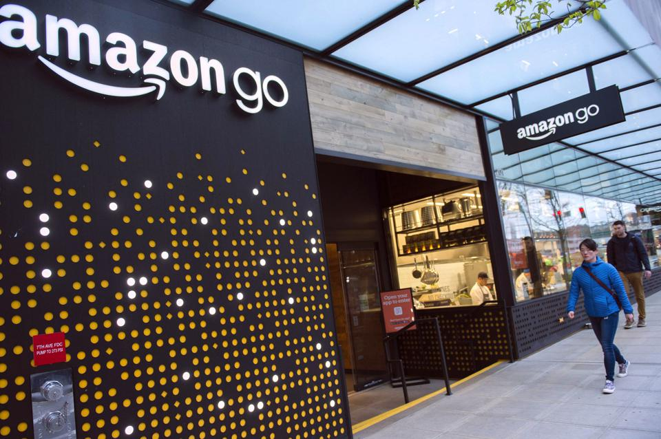 An Amazon Go store at the foot of Amazon's Seattle headquarters.