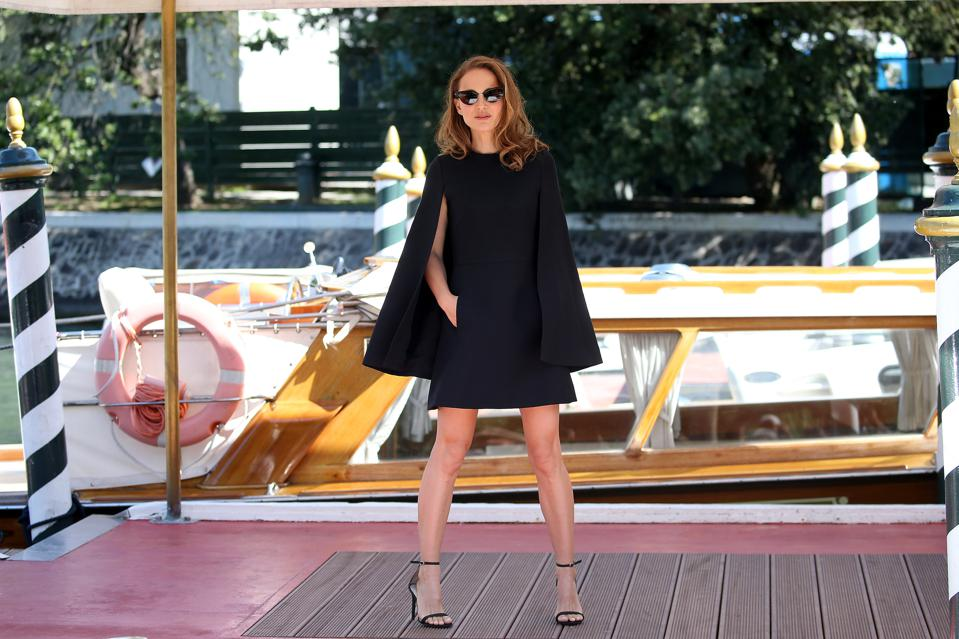 Yes, She Canal: 'Vox Lux' star Natalie Portman (in a caped Dior minidress) at the 2018 Venice Film Festival.
