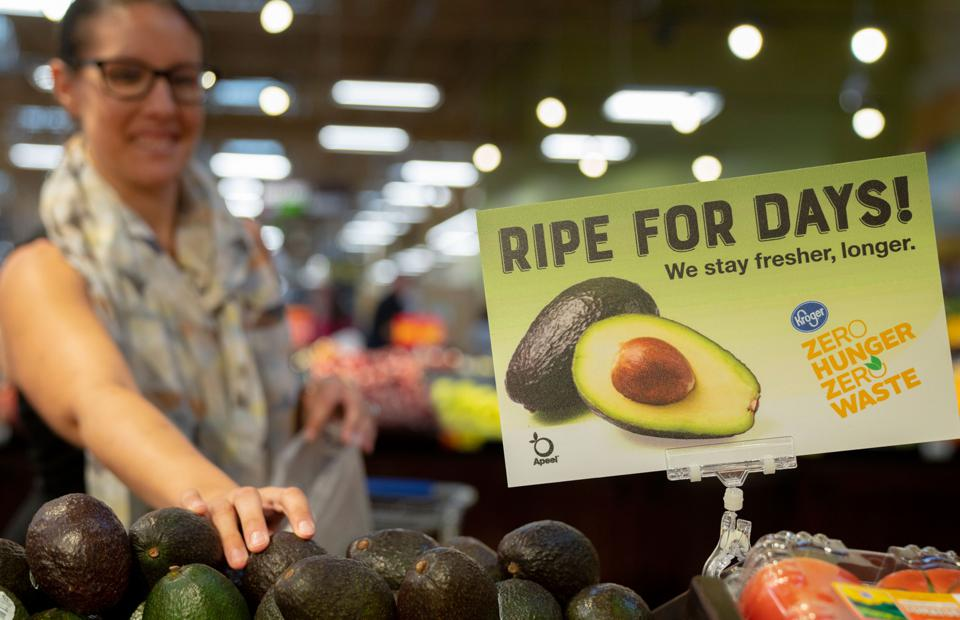 A display of Apeel-treated avocados at a Kroger supermarket.