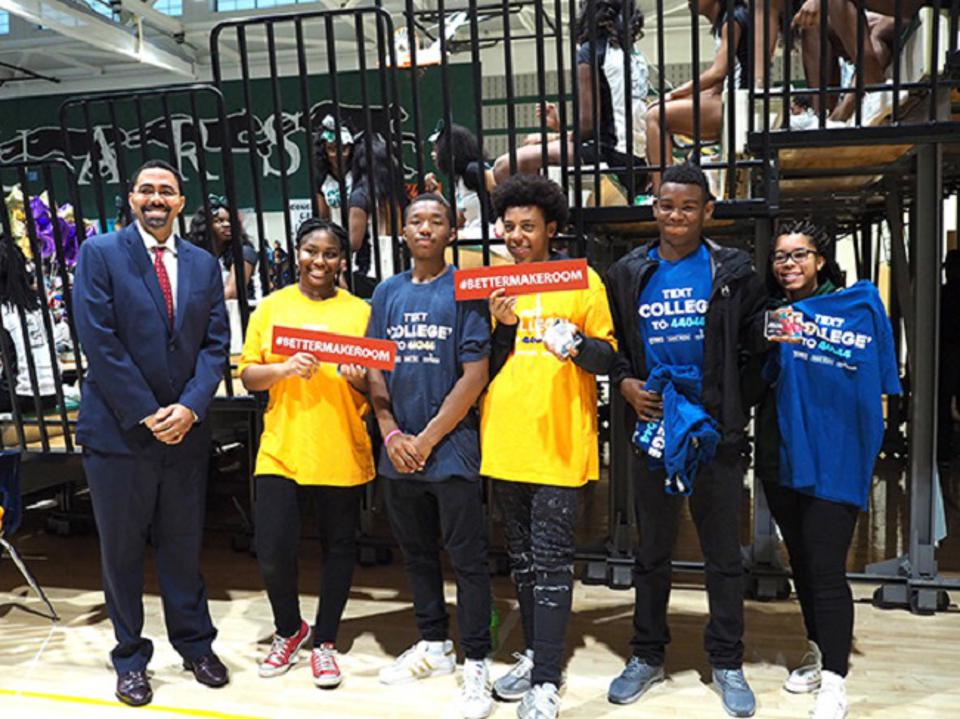 Former Secretary of Education John King joins students at College Signing Day.