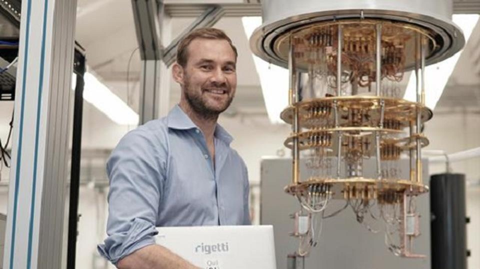 Chad Rigetti near one of his quantum computers.