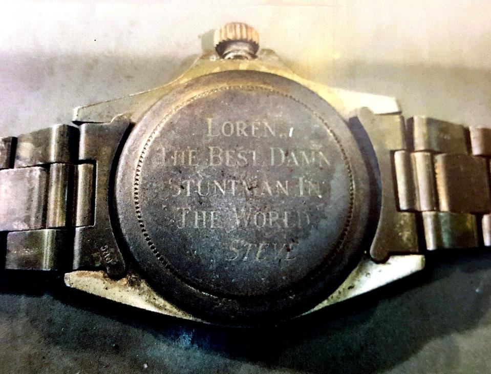 From the Ashes: The engraving on the caseback of the Rolex after the fire.