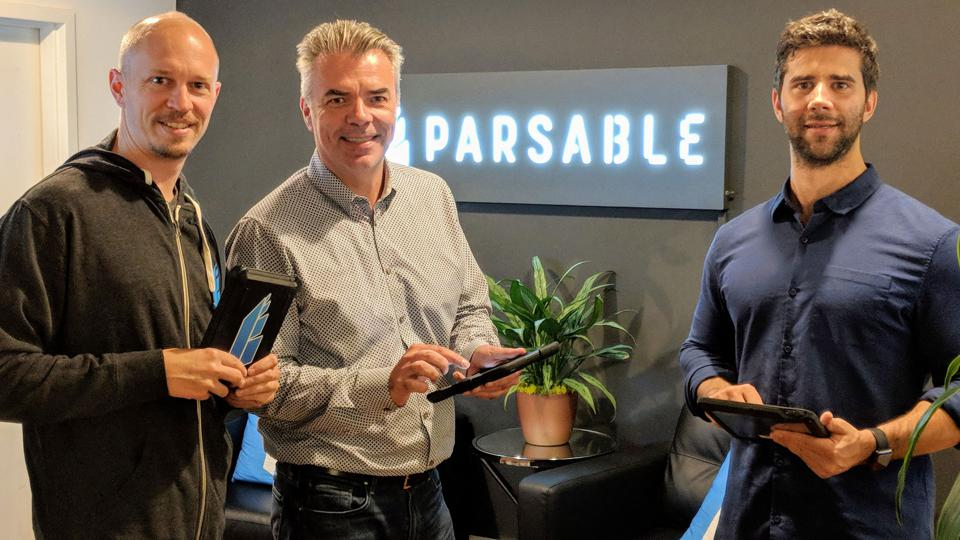 Ryan Junee (left) sold a company to Google before cofounding Parsable with Chase Feiger (right). Software veteran Lawrence Whittle joined the company as CEO in 2017 to help commercialize its technology.