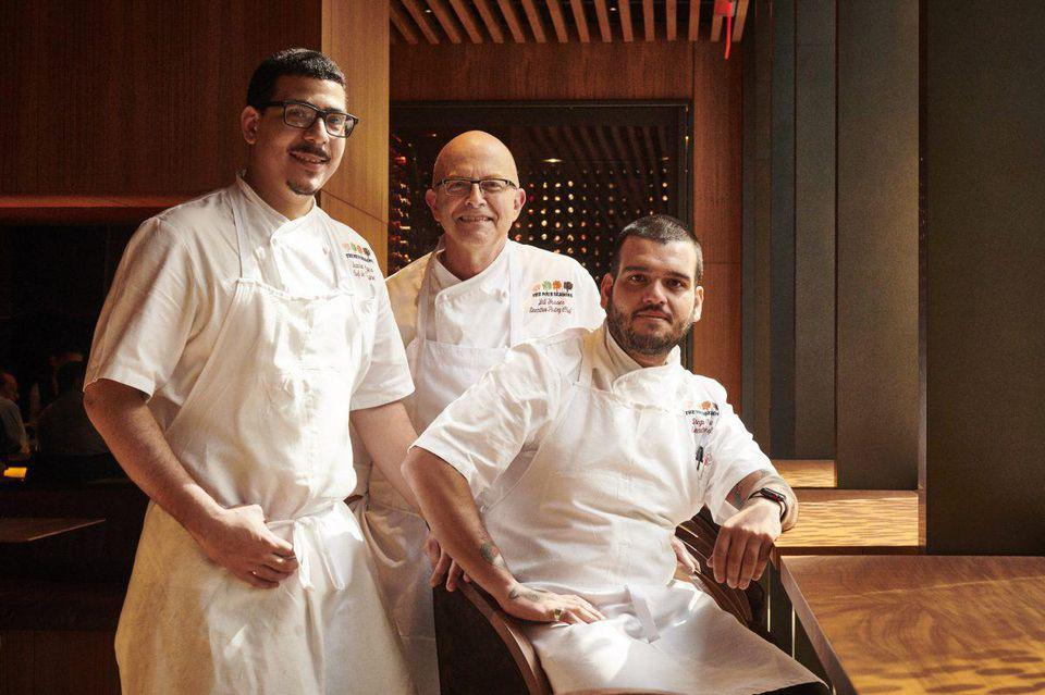 Dynamic trio: chef de cuisine Brandon Lajes, pastry chef Bill Yosses, and executive chef Diego Garcia, have reimagined the Four Seasons menu.