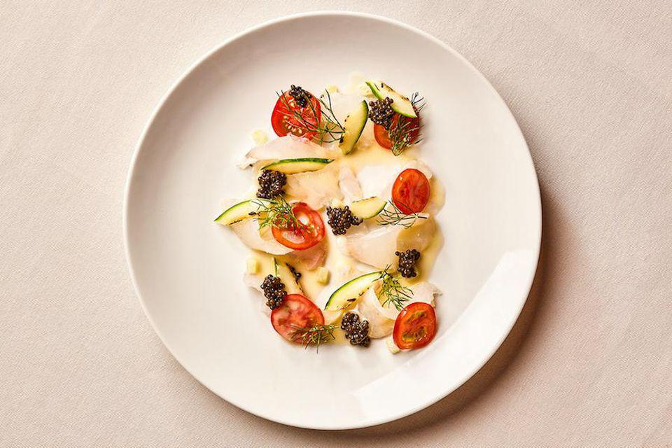 With the fluke crudo, Chef Diego Garcia, it seems, has a knack for combining the tart with the creamy—while adding unexpected dashes of texture here and there.