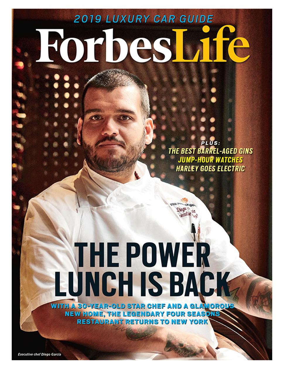Four Seasons executive chef Diego Garcia on the cover of the September 2018 ForbesLife issue.
