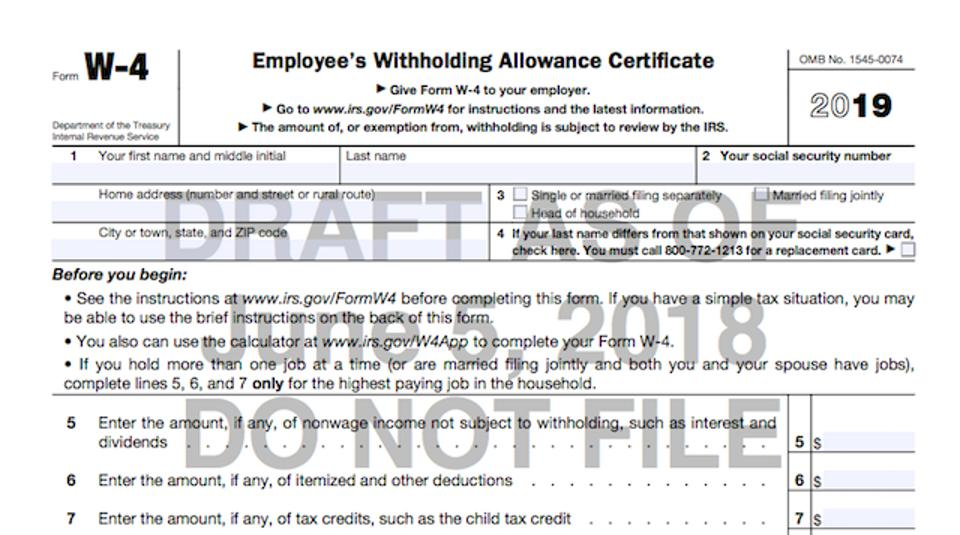photo relating to W4 Form Printable referred to as Soon after Pushback, IRS Will Continue to keep Large Withholding Sort Improvements