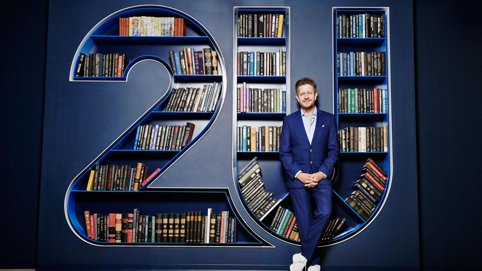2U chief Chip Paucek at the company's headquarters in Lanham, Maryland. The books may be props, but 2U's $4.7 billion valuation speaks volumes about its acceptance at scholarly institutions
