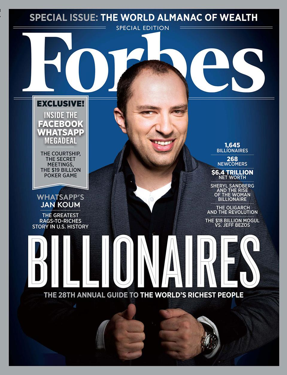 Jan Koum immigrated to California when he was 16, then dropped out of college to join Yahoo. In 2009, he bought his first iPhone and then started WhatsApp, bringing his former Yahoo friend Acton on as a cofounder.