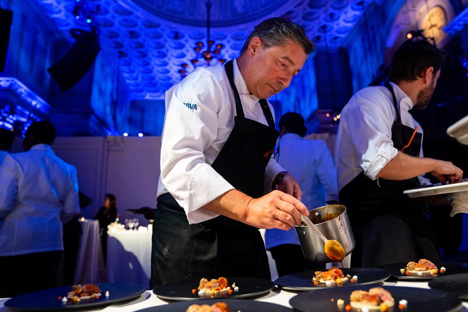 Chef Joan Roca puts the finishing touches on his signature lamb dish at an exclusive popup dinner held at Cipriani Wall Street in New York last week.