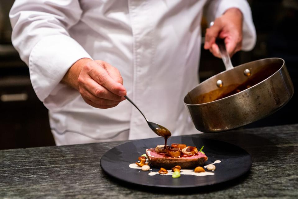 Chef Roca's signature veal dish requires three days to cook sous vide.