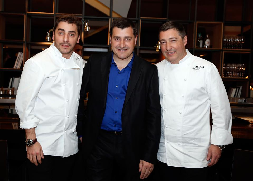 Jordi, Josep and Joan Roca attend the Roca Brothers gastronomy project in Barcelona in 2013.
